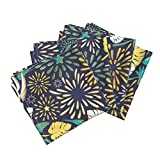 Fireworks Tropical Leafs Gold Hawaii Monstera Friday Night Fireworks Linen Cotton Dinner Napkins Tropical Fireworks 4 by Selmacardoso Set of 4 Dinner Napkins