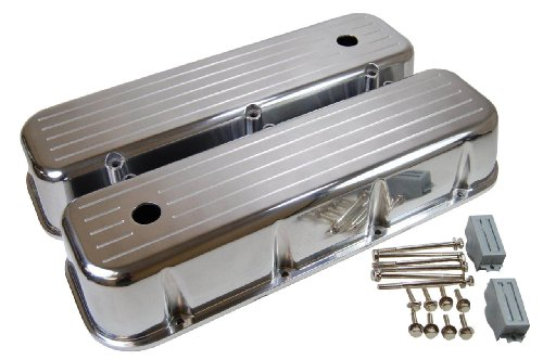 (Racer Performance 1965-95 Chevy Big Block 396-427-454-502 Tall Polished Aluminum Valve Covers - Ball)