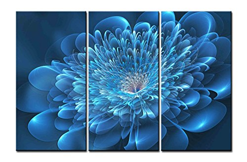 Canvas Print Wall Art Painting - 3 sets pictures of Flower Lotus Blue High Cat Paintings - The Picture For Living Room Decoration,City Pictures Photo Prints On Canvas