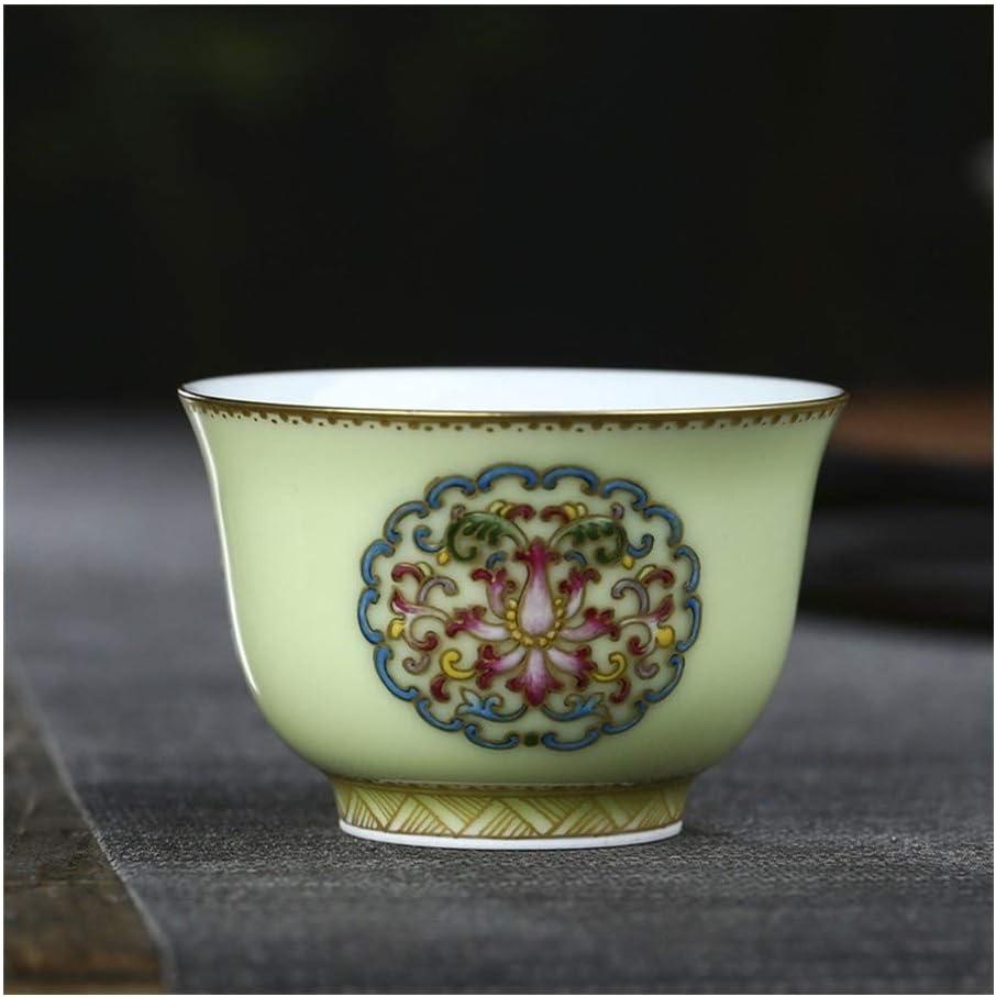 GuoQiang Zhou - Taza de cerámica pintada a mano, esmaltada de color dorado esmaltado, cerámica, verde, 51-100ML