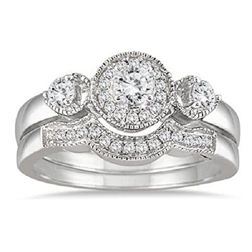 3djewels 1/2 Carat Antique Diamond Engagement Ring Bridal Set 925 Sterling 14k White Gold