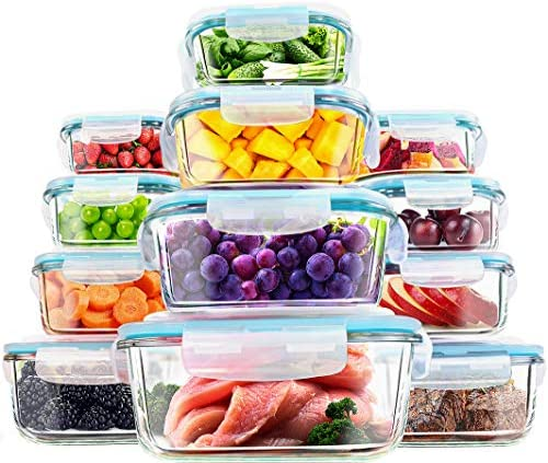Utopia Kitchen- 24 Piece Glass Food Storage Container (12 packing containers,12 clear lids)- Stackable & Leak-proof- BPA Free locking lids- Easy to retailer meals & raise at the go- From Oven to the Table