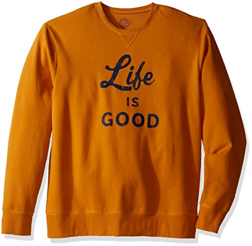 Life is good Men's Go-To Crew Script & Bold Sweater, Artisan Gold, XX-Large