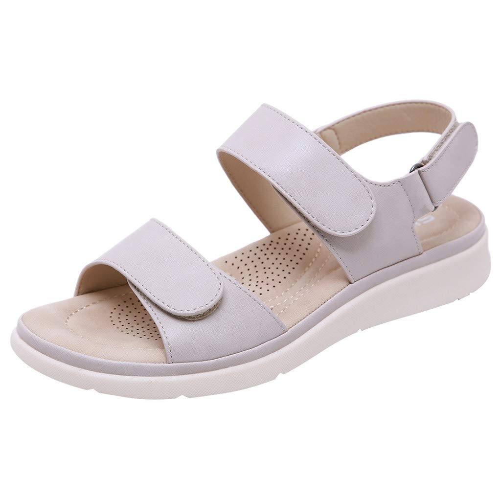 ✔ Hypothesis_X ☎ Women's Low Wedge Sandal with Ankle Strap Flat Peep-Toe Low Roman Sandals Flat Shoes Summer Gray