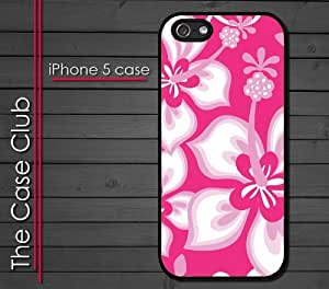 iPhone 5 Rubber Silicone Case - Hibiscus Flowers Pink Pattern Print Hawaiian Tropical Style