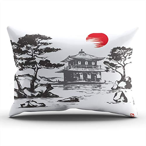Kyoto King Bed - ONGING Decorative Pillowcases Silver Pavilion Kyoto Japan Customizable Cushion King Size 20x36 Inch Throw Pillow Cover Case Hidden Zipper One Sided Design Printed