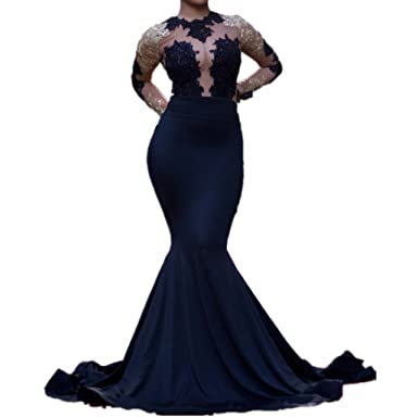 LeoGirl Womens Lace Appliques Illusion Mermaid Prom Dresses Long Sleeve Sexy Formal Evening Gown (2