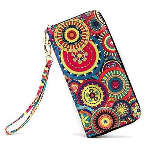 LOVEME Women GearFlower Double Zipper Clutch Wallets