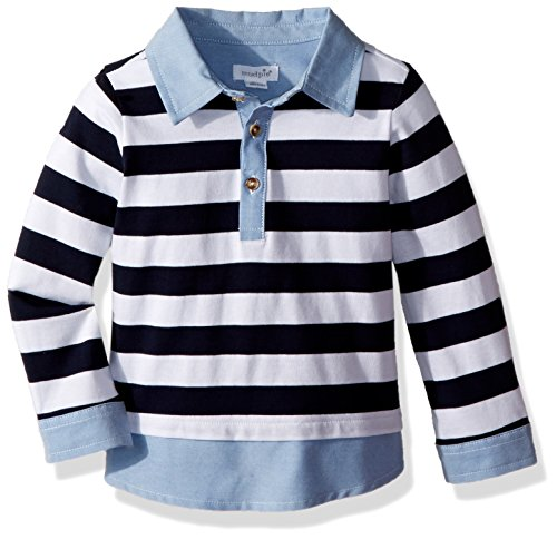 - Mud Pie Baby Boys Rugby Long Sleeve Layered Shirt, Blue, LG/ 4T-5T