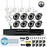 Jennov Security Camera System Wireless, 8CH 1080P Wireless Security Camera NVR System With WiFi Audio Home Video Surveillance IP66 Outdoor Cctv IP Network Cameras Day Night Vision (No Hard Drive)