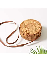 FOONEE Handwoven Round Rattan Bag, Straw Shoulder Bag Straw Handbag Rattan Boho Purse with Shoulder Leather Strap for Women