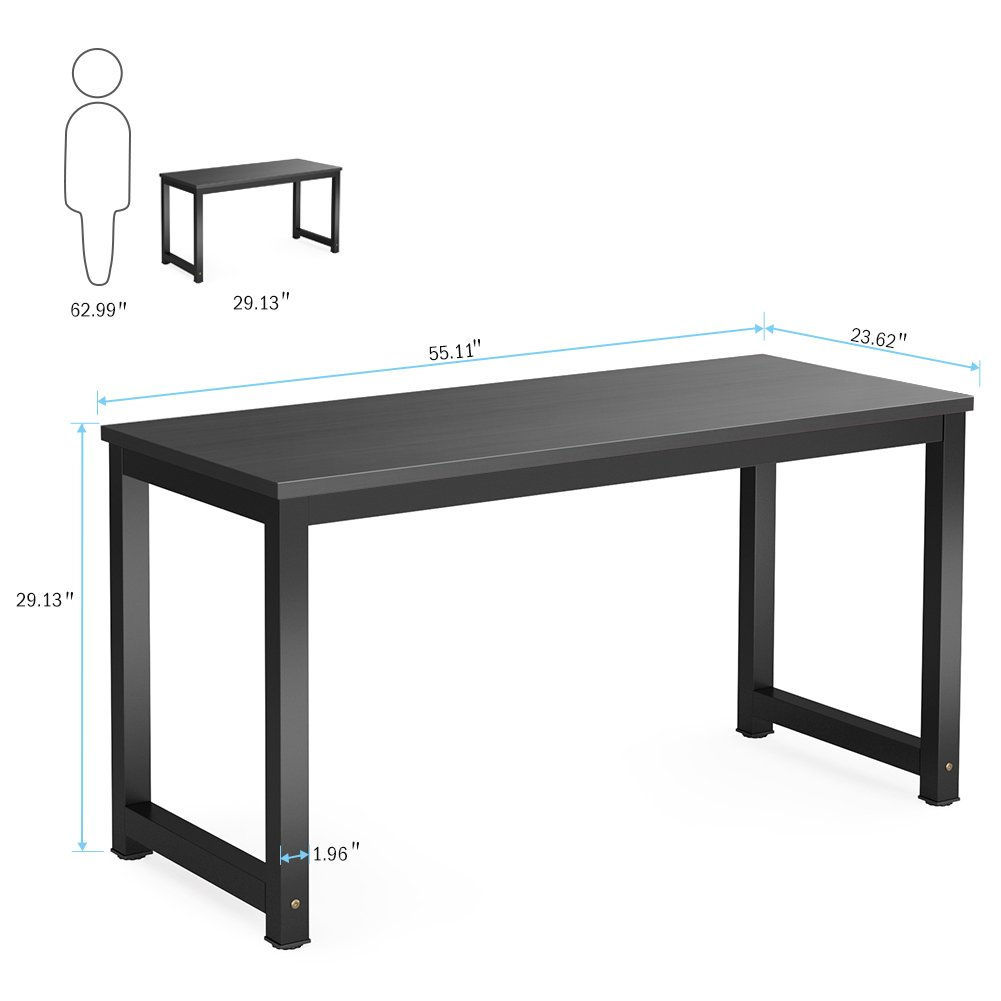 Tribesigns Computer Desk, 55 inch Large Office Desk Computer Table Study Writing Desk for Home Office, Black + Black Leg by Tribesigns (Image #6)