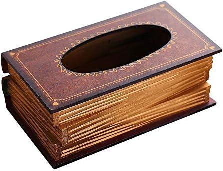 TUPXEF Caja de pañuelos de Forma de Libro de Estilo Retro Caja de pañuelos de Papel Caja Caja de Almacenamiento de Papel de servilleta de retablo de Europa Caja de Almacenamiento: Amazon.es: