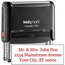 "MaxMark Custom Three Line Self Inking Stamp - 3/4"" x 1-7/8"" - Customize Online, Many font and color choices"