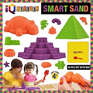 IQ BUILDER | SENSORY TOYS | CREATIVE EDUCATIONAL KINETIC ART PLAY SAND FOR BOYS AND GIRLS AGES 3 4 5 6 7 8 9 10 YEAR OLD + | FUN MOLDABLE SYNTHETIC BEACH SAND KIT FOR CHILDREN | BEST TOY GIFT FOR KIDS