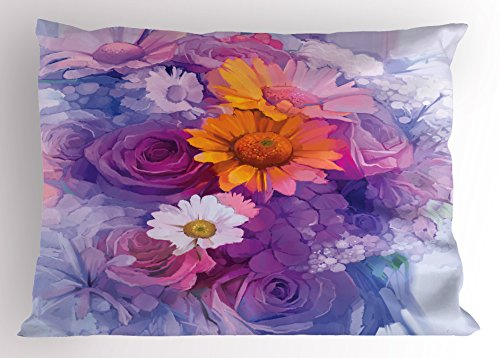 Lunarable Watercolor Flower Pillow Sham, Bouquet of Rose Daisy and Gerbera Flowers Impressionist Style, Decorative Standard King Size Printed Pillowcase, 36