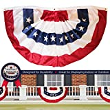 G128 – USA Pleated Fan Flag, 3×6 Feet American USA Bunting Decoration Flags Embroidered Patriotic Stars & Sewn Stripes Canvas Header Brass Grommets Review