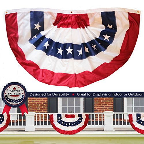 Hanging American Flag (G128 - USA Pleated Fan Flag, 1.5x3 Feet American USA Bunting Decoration Flags EMBROIDERED Patriotic Stars & Sewn Stripes Canvas Header and Brass Grommets)