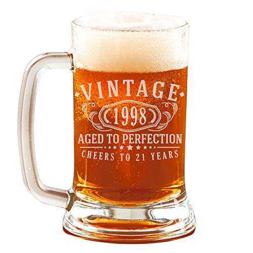 (21st Birthday Etched 16oz Glass Beer Mug - Vintage 1998 Aged to Perfection - 21 years old gifts )