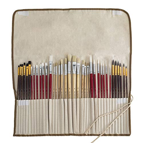 WA Portman Artist Paint Brush Set for Acrylic Watercolor Oil Gouache Model Face and Body Painting   38-pc Quality Synthetic Hair Painting Brushes Set   Handy Canvas Holder Great for Kids and Adults