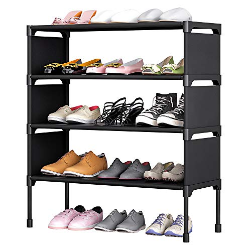 TZAMLI 4-Tier Free Standing Shoe Rack 12 Pairs Non-Woven Fabric of Shoes Organizer in Closet Entryway Hallway,Anti-Rust, Metal Frame and Fabric Shelves,22.8 x 10.6 x 25.2'' (Black)