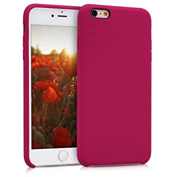 kwmobile Funda compatible con Apple iPhone 6 Plus / 6S Plus - Carcasa de TPU para móvil - Cover trasero en fucsia / rojo