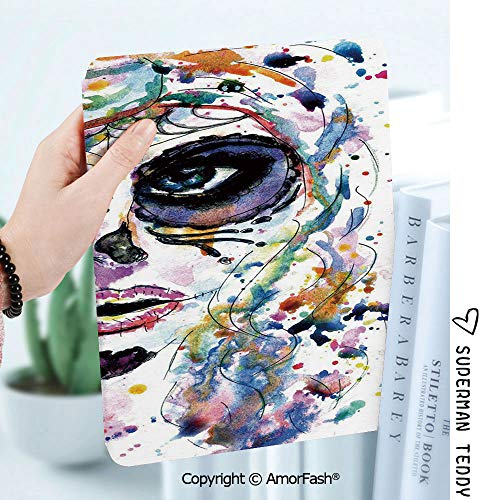 Case for Samsung Galaxy Tab A 8.0 2017 Release for T380/T385,Auto Wake/Sleep,Sugar Skull Decor Halloween Girl with Sugar Skull Makeup Watercolor Painting Style Creepy Decorative -