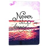 iPad Air 2 Case,X-Master[Luxury Protection][Kickstand]Cute Design Slim Lightweight Folio Flip PU Leather Wallet Stand Smart Protective Cover for Apple iPad Air 2 (9.7 inch ) (Never stop dreaming)