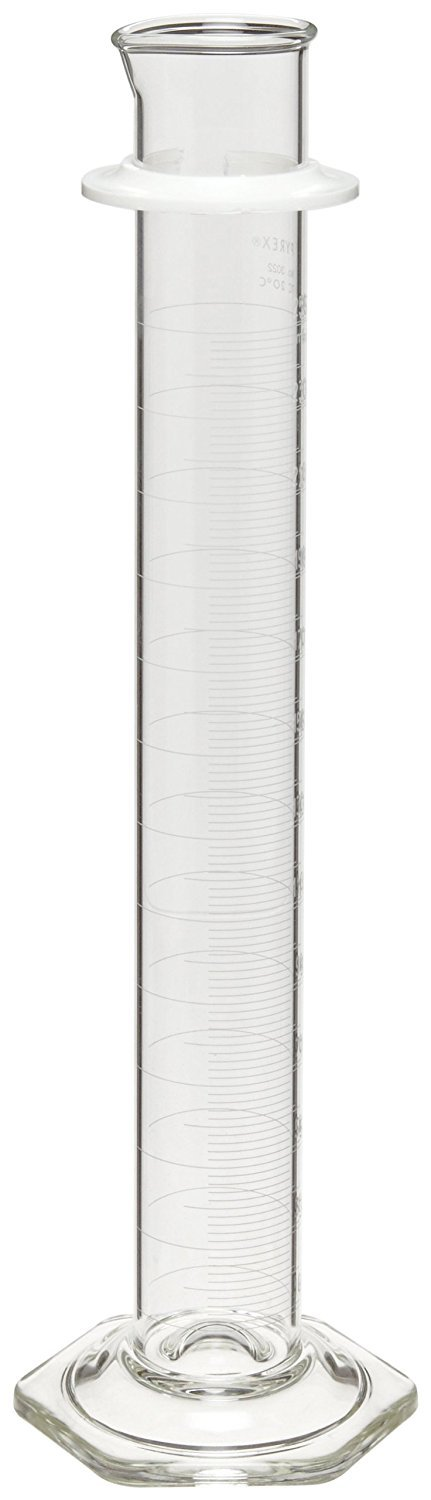 Corning Pyrex 3022-250 Glass 250mL ''To Contain'' Graduated Single Metric Scale Cylinder, with Pourout Top