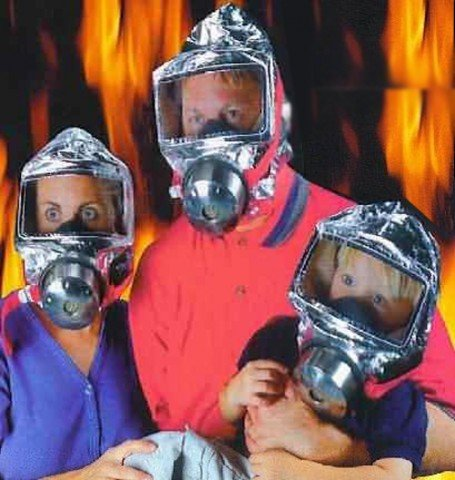 KIKAR Notfall Sauerstoff davonfliegende Kapuze Atemschutzmaske 60 Minutes Rauchmelder giftigen Filter