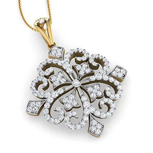 18 K Or Blanc 1.01 carat au total Round-cut-diamond (IJ | SI) Pendentif