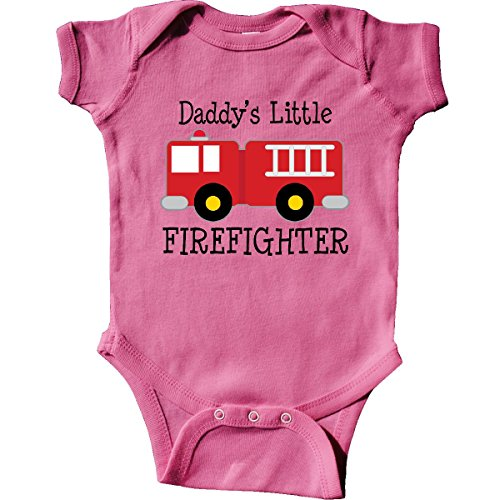 inktastic Daddy's Little Firefighter Infant Creeper 6 Months Raspberry