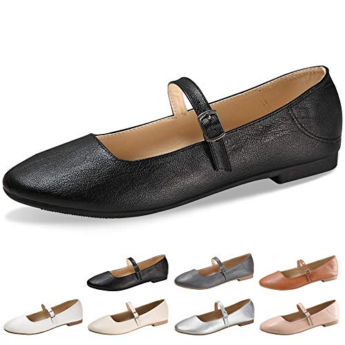 - CINAK Flats Mary Jane Shoes Women's Casual Comfortable Walking Buckle Ankle Strap Fahion Slip On (5-5.5 B(M) US/ CN37 / 9.2'', Black)