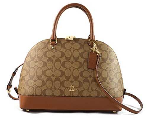 Coach Signature Sierra Satchel Crossbody Bag Purse Handbag (Khaki/Saddle) by Coach