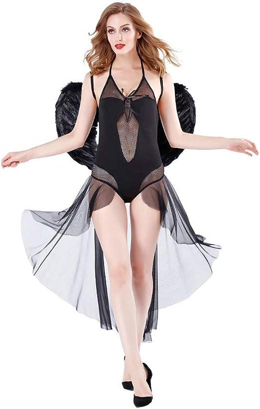 Traje para Mujer Adulto Oscuro Ángel Sexy Disfraz Vestido ...