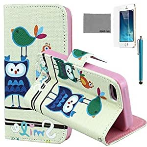 SHOUJIKE Bird Owl Pattern PU Leather Case with Screen Protector and Stylus for iPhone 5/5S