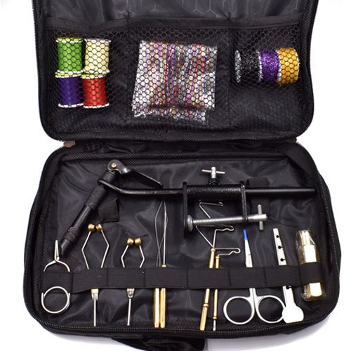 Fly Tying Tools and Fly Tying Materials Gift Set with Bag Combo (Tyer Vise/Stainless Bobbin/ Bobbin Threader/bodkin/ Whip Finisher/Hackle Plier/Hair Stacker) (Fly Tying Tools Set With Bag)