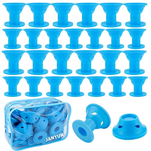 Silicone Wave (40 Packs Blue Magic Hair Rollers No Clip Silicone Curlers Professional Hair Style Tools Accessories,No Heat No Damage to Hair)