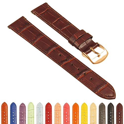 StrapsCo Crocodile Embossed Women's Leather Watch Band - Quick Release Strap - 10mm 12mm 14mm 16mm 18mm 20mm 22mm -