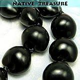 "Native Treasure - 32"" Black Kukui Nut Necklace Lei"