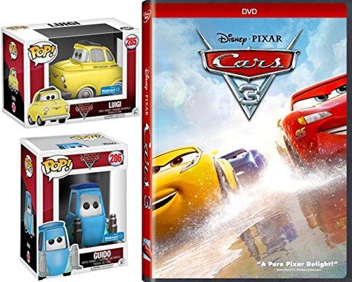 Disney Luigi & Guido Cars 3 Pixar DVD Movie with Exclusive Funko Pop! Animated Figures Fun Pack