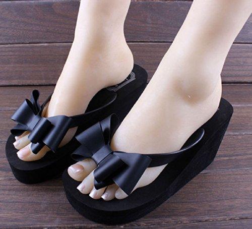Hausschuhe Einfache Damen High Heels Flip Flops,Damen Sommer Sandalen,Sandaletten,Pumps,Sandalen,Badeschuhe,35,schwarz,Hintergrund blau