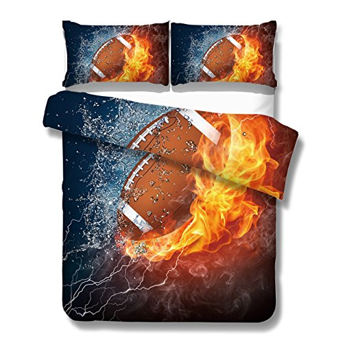 Football Comforter (KTLRR Rugby with Fire Duvet Cover Sets, Fantastic Fire and Splashing Water American Football Design,Kids Boys Bedroom Decor Bedding Set with Pillow Shams,No Comforter (Rugby, Twin 2pcs))
