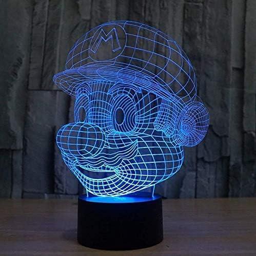 Super Mario Figuras Ilusión 3D Lámpara de luces, Mesa de LED ...