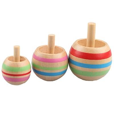 Foreen 3Pcs Wooden Gyro Finger Spinner Desktop Spinning Top Kids Toy Stress Reliever Best Christmas Birthday Gift for Children: Home & Kitchen