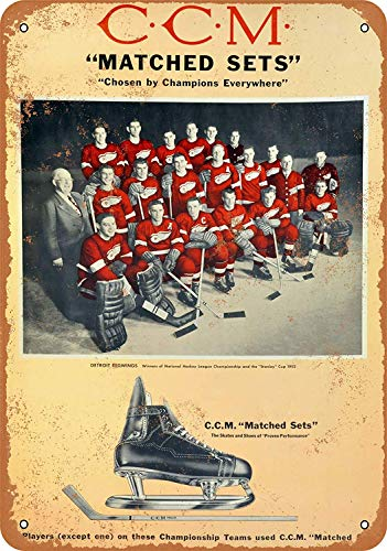 (Detroit Red Wings for CCM Skates Tin Wall Signs Retro Iron Painting Metal Poster Warning Plaque Art Decor for Garage Home Garden Store Bar Café)