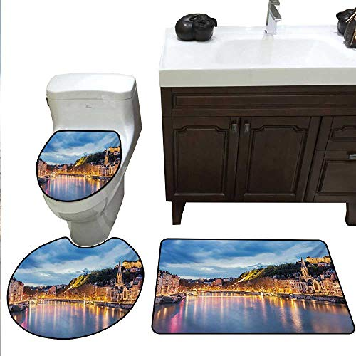 Anshesix European Bathroom Rug Set View of Saone River in Lyon City at Evening France Blue Hour Historic Buildings Toilet Carpet Floor mat Set Multicolor -