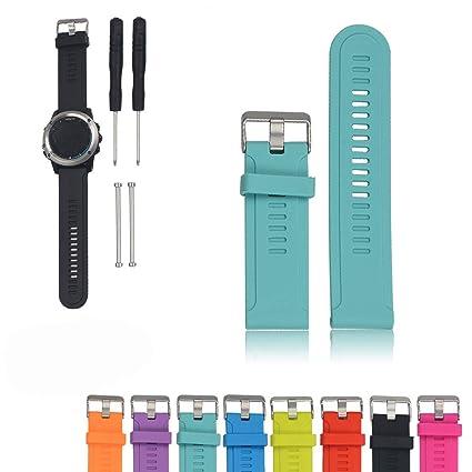 Feskio Correa de Reloj de Repuesto de Correa de Silicona Suave Garmin D2 / Fenix / Fenix2 / Fenix3 / Fenix3 HR/Quatix / Quatix3 / Tactix GPS Reloj ...