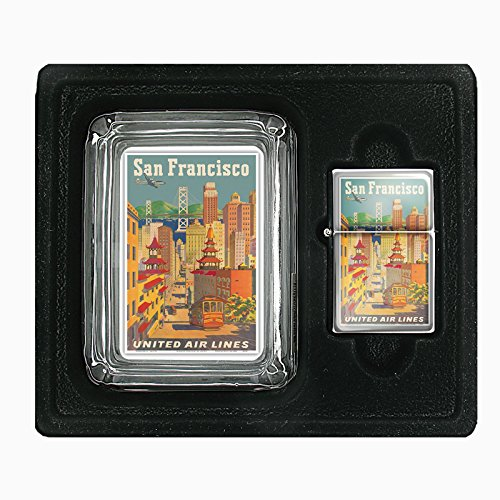 Glass Ashtray Oil Lighter Gift Set Vintage Poster D-048 San Francisco, California - United Air Lines - Cable Car in Chinatown - Vintage Airline Travel