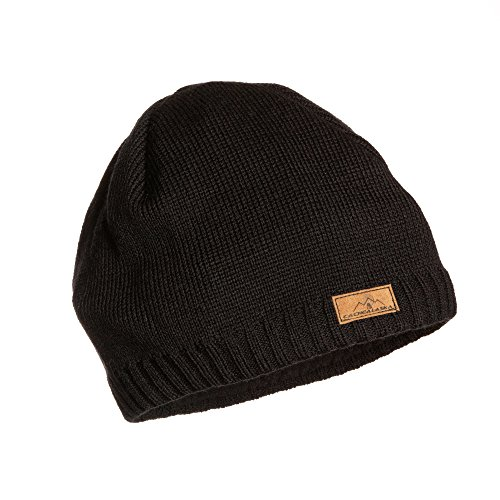 (CacheAlaska Beanie Black Knit Ski Hat - Wool Blend - Men or Women - Designed)